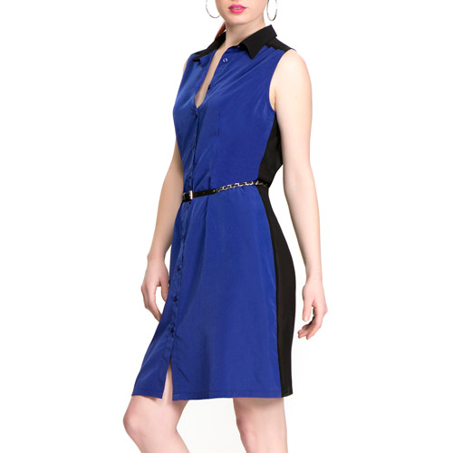Miss Tina Women's Sleeveless Shirtdress