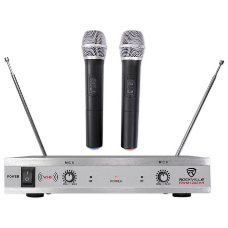 Rockville RWM1202VH VHF Wireless Dual HandHeld Microphone System/Metal