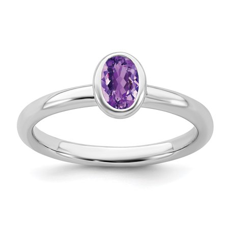 925 Sterling Silver Oval Purple Amethyst Band Ring Size 10.00 Stone Stackable Gemstone Birthstone February Fine Jewelry Gifts For Women For Her - image 8 de 8