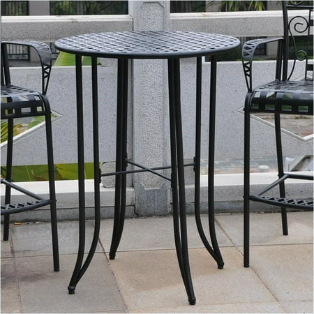 Pemberly Row Iron Antique Black Bar-height Patio Bar Table ()