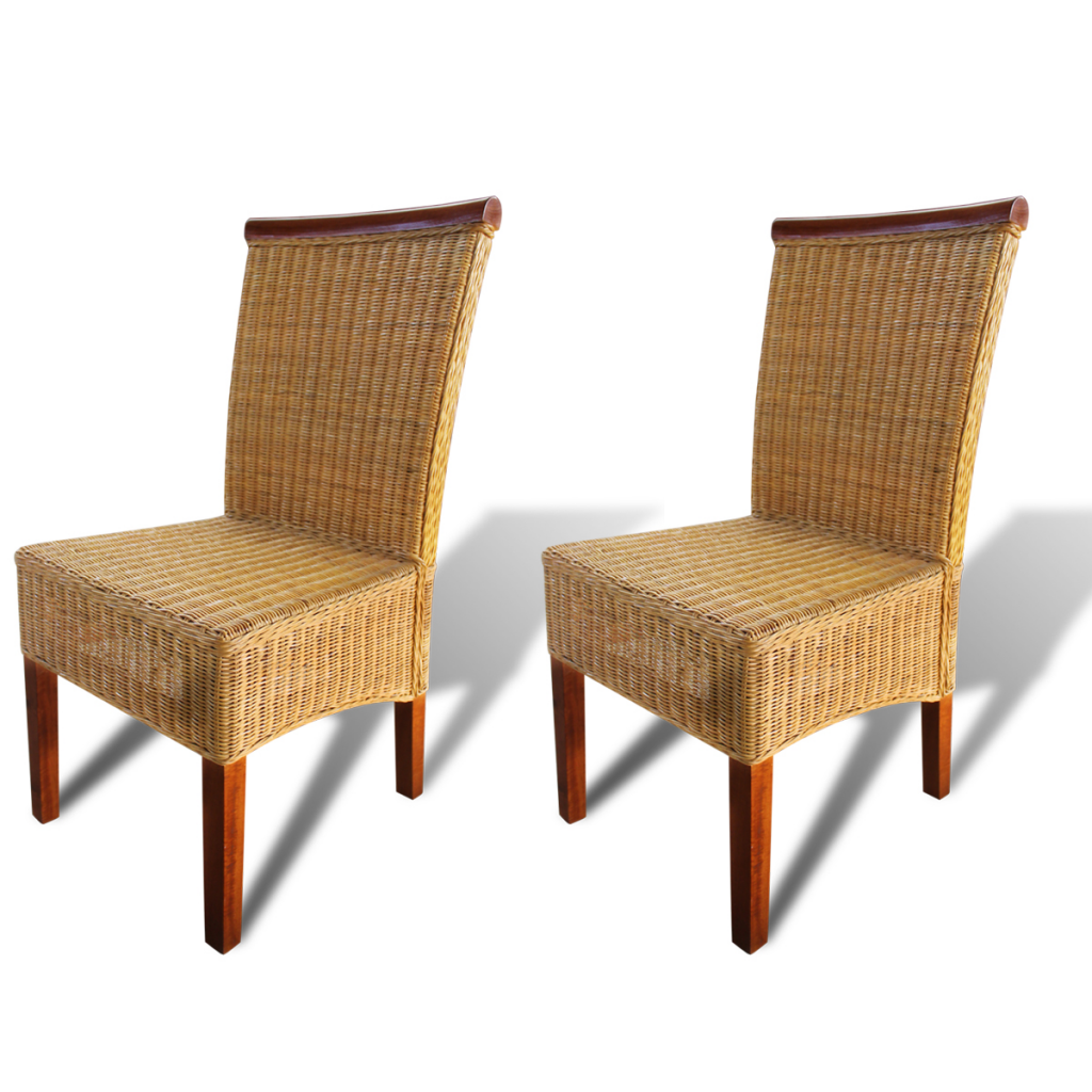Dining Chairs Brown Rattan - 2 pcs