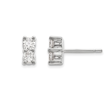 Solid 14k White Gold 2 Stone Diamond Earring 6mm 28ct