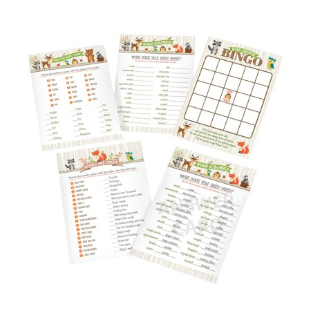 Woodland Baby Shower Game Cards - Cheap Baby Shower Themes