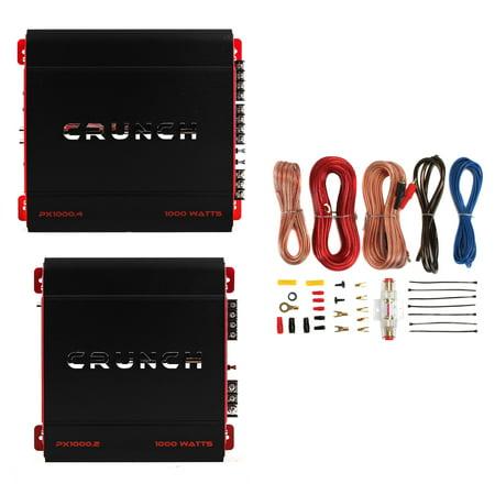 Crunch 4 Channel 1000W A/B Class Stereo Amplifier & 2 Channel Amp & Wiring (Crunch 2 Channel Amplifier)