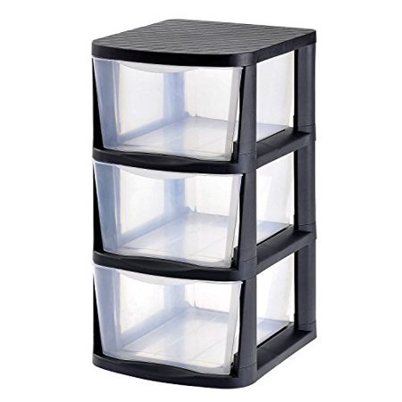 - product of muscle rack 3-drawer clear plastic storage tower with black frame - drawers & cabinet organizers [bulk savings]