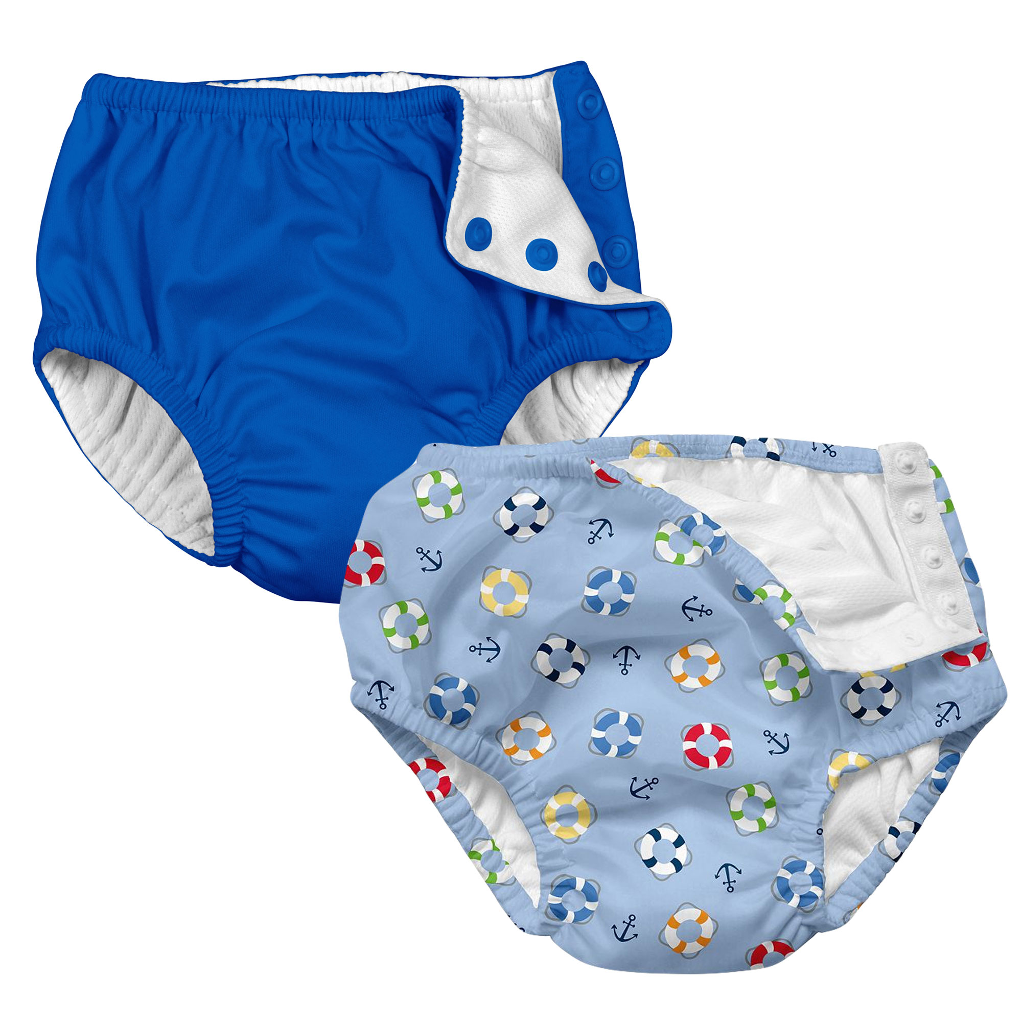 i play Baby and Toddler Snap Reusable Swim Diaper - Royal Blue and Nautical Lifesaver- 2 Pack