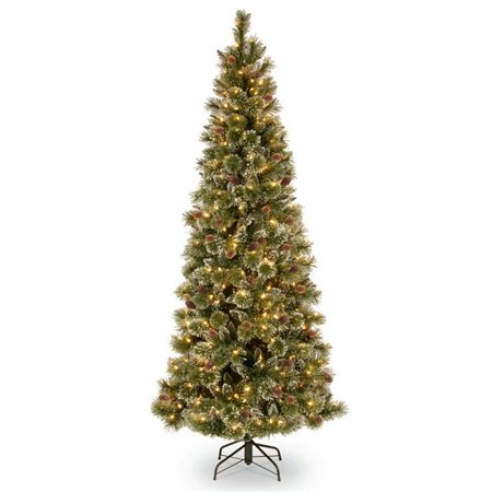 6.5 ft. Glittery Bristle Pine Slim Tree with Warm White LED Lights