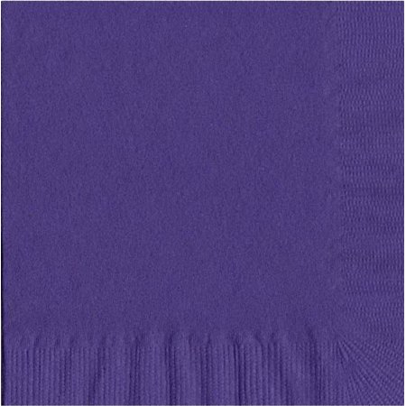 200 -  (4 Pks of 50) 2 Ply Plain Solid Colors Luncheon Dinner Napkins Paper - Purple 3 Ply Paper Napkin