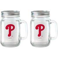MLB 16 oz Philadelphia Phillies Glass Jar with Lid and Handle, 2pk