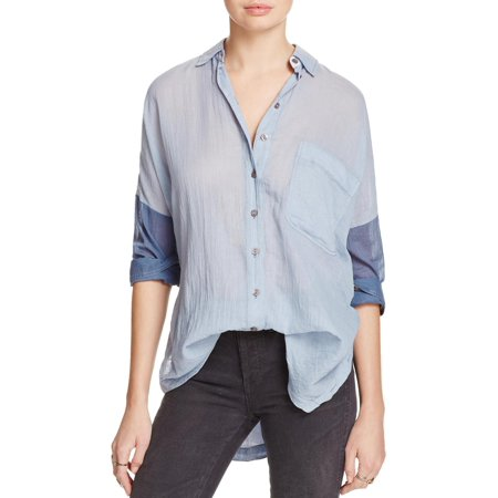 8d2b323eaecbb Free People Womens Colorblock Long Sleeves Button-Down Top