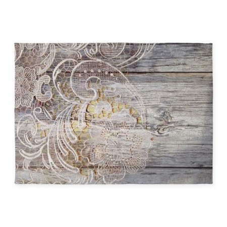 CafePress - Barn Wood Lace Western Country - 5'x7'Area (Lace Rug)