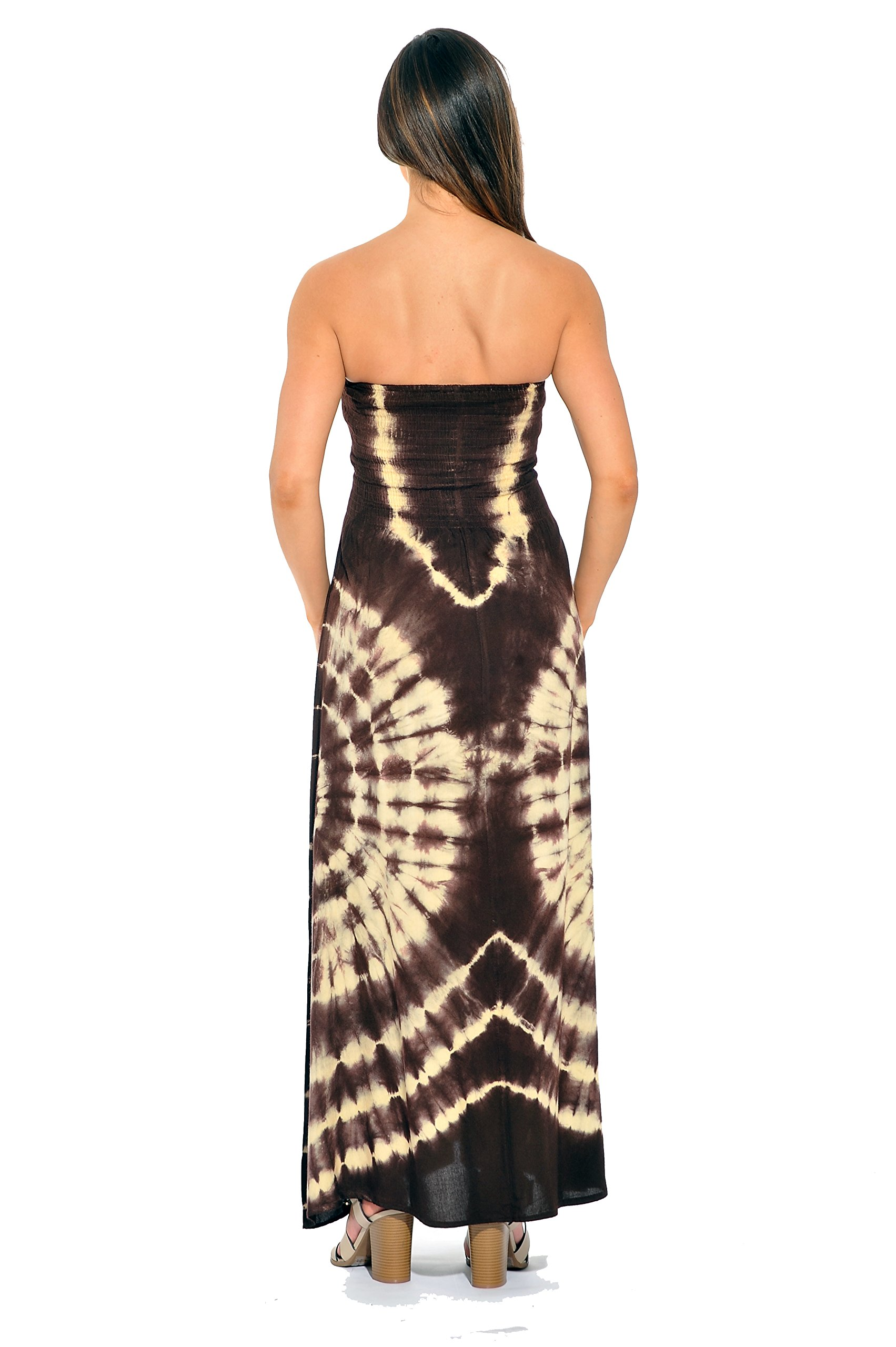 Riviera Sun - Convertible Tie Dye Smock Chest Maxi Dress (Grey   Mint 4f1d59252