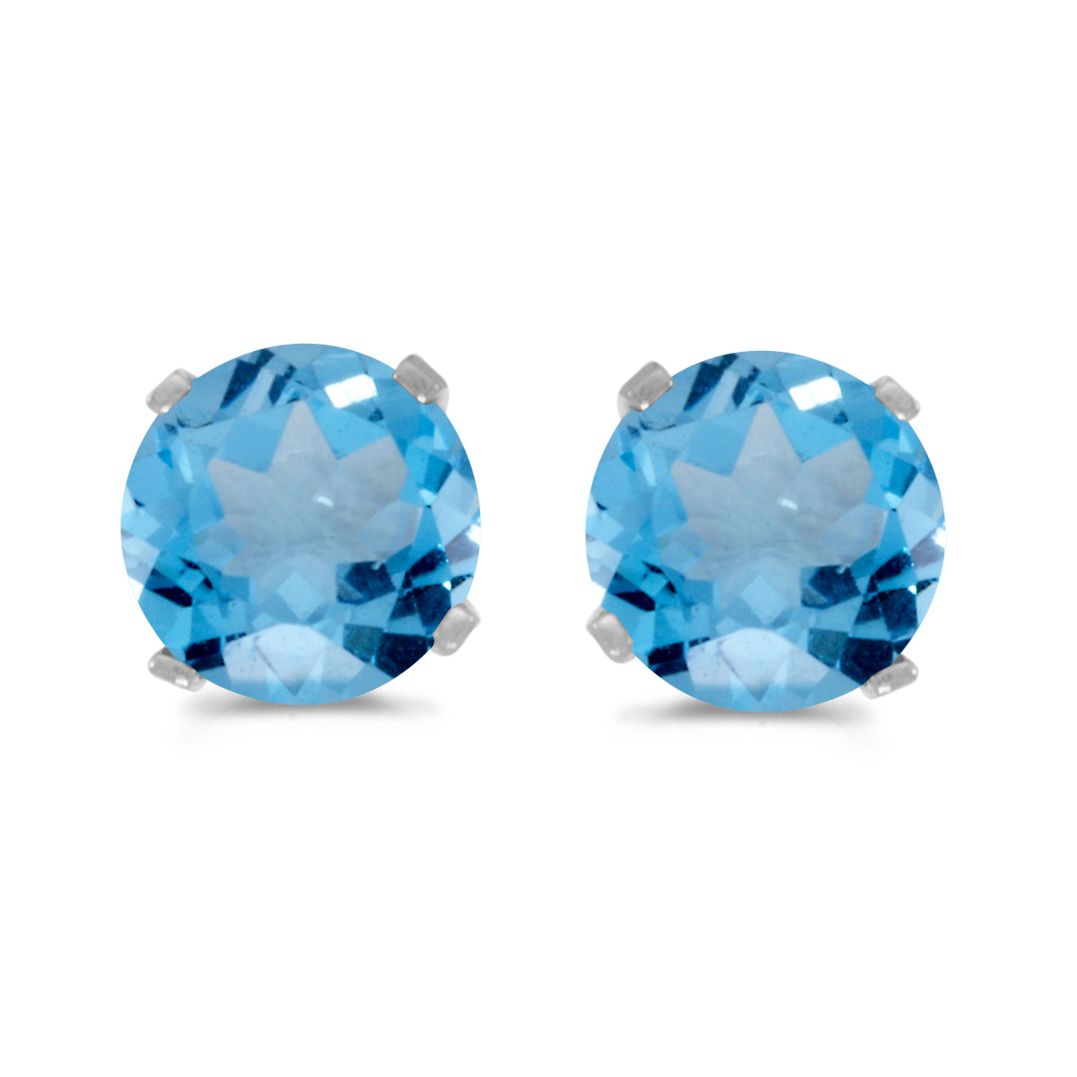 5 mm Natural Round Blue Topaz Stud Earrings Set in 14k White Gold by