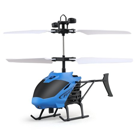 Mindkoo Flying Mini RC Remote Control Infrared Induction Helicopter Aircraft Flashing Light Toys For Kids and Adults - Blue