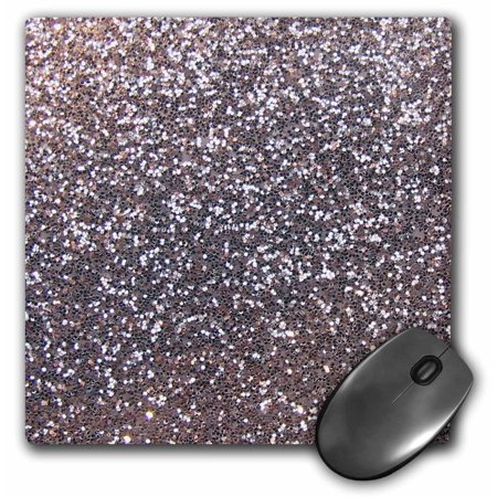 3dRose Silver Faux Glitter - photo of glittery texture - metallic sparkly bling - diva glam sequins glamor, Mouse Pad, 8 by 8 inches