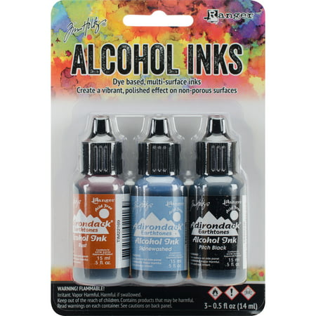 Tim Holtz Alcohol Ink .5oz 3/Pkg-Miners Lantern-Rust/Stonewash/Pitch Blk