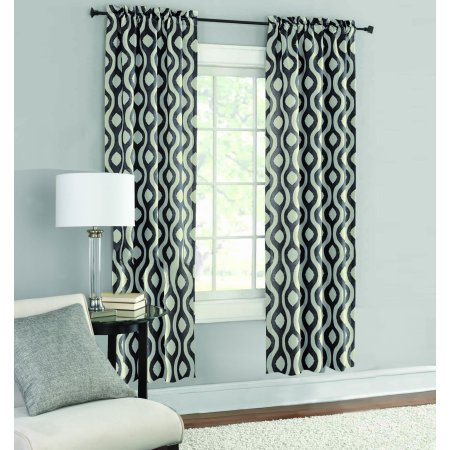 Mainstays Thermal Wave Print Room Darkening Window Curtain Panel Pair ()