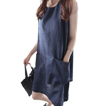 Women's Casual Loose One Piece Sleeveless Pocket Summer Dress