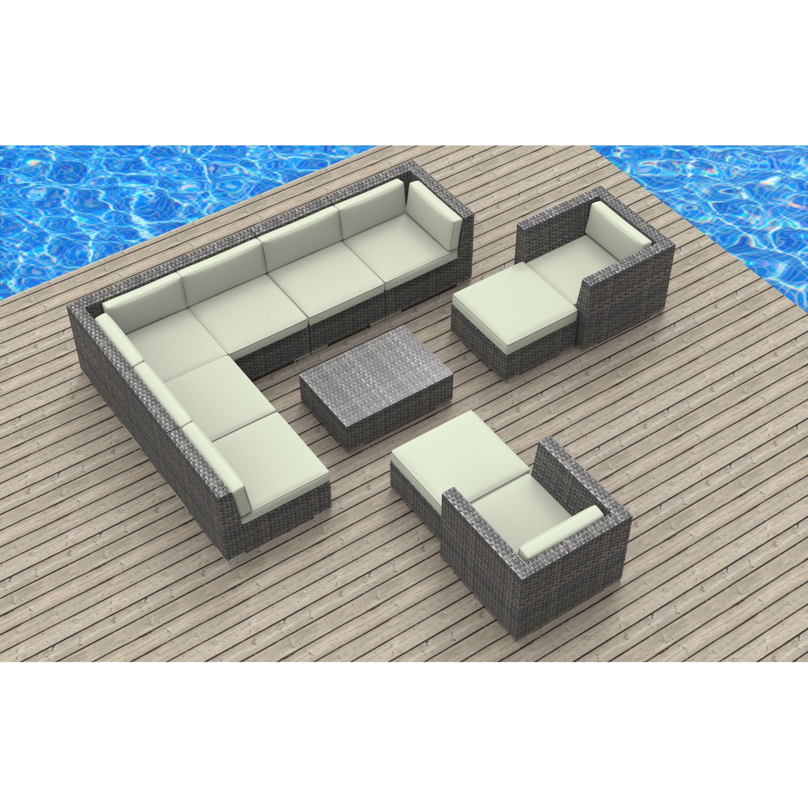 Urban Furnishing Aruba 11 Piece Outdoor Wicker Patio Furniture Set