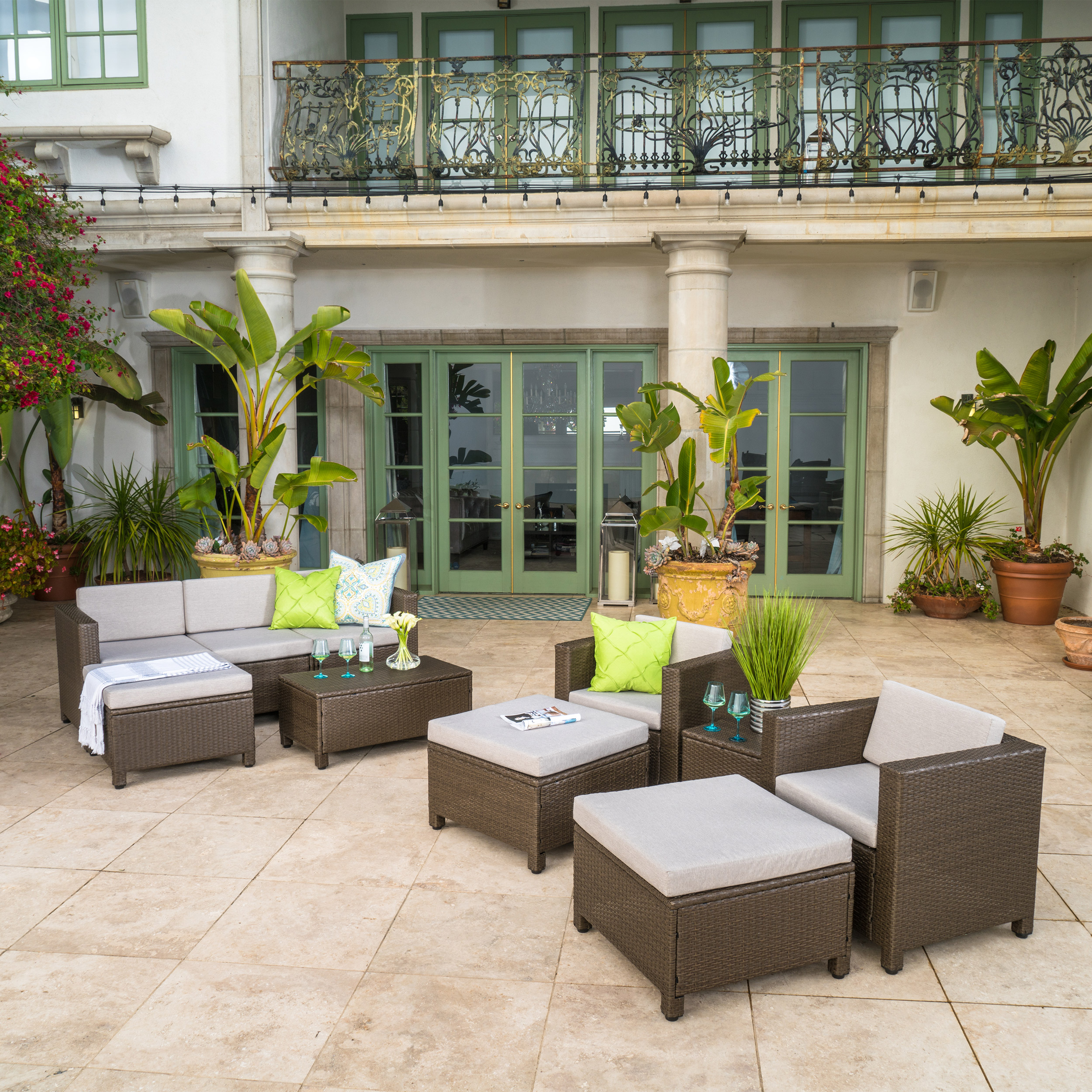 Cascada Outdoor 10 Piece Wicker Sofa Collection with Cushions, Brown, Ceramic Grey