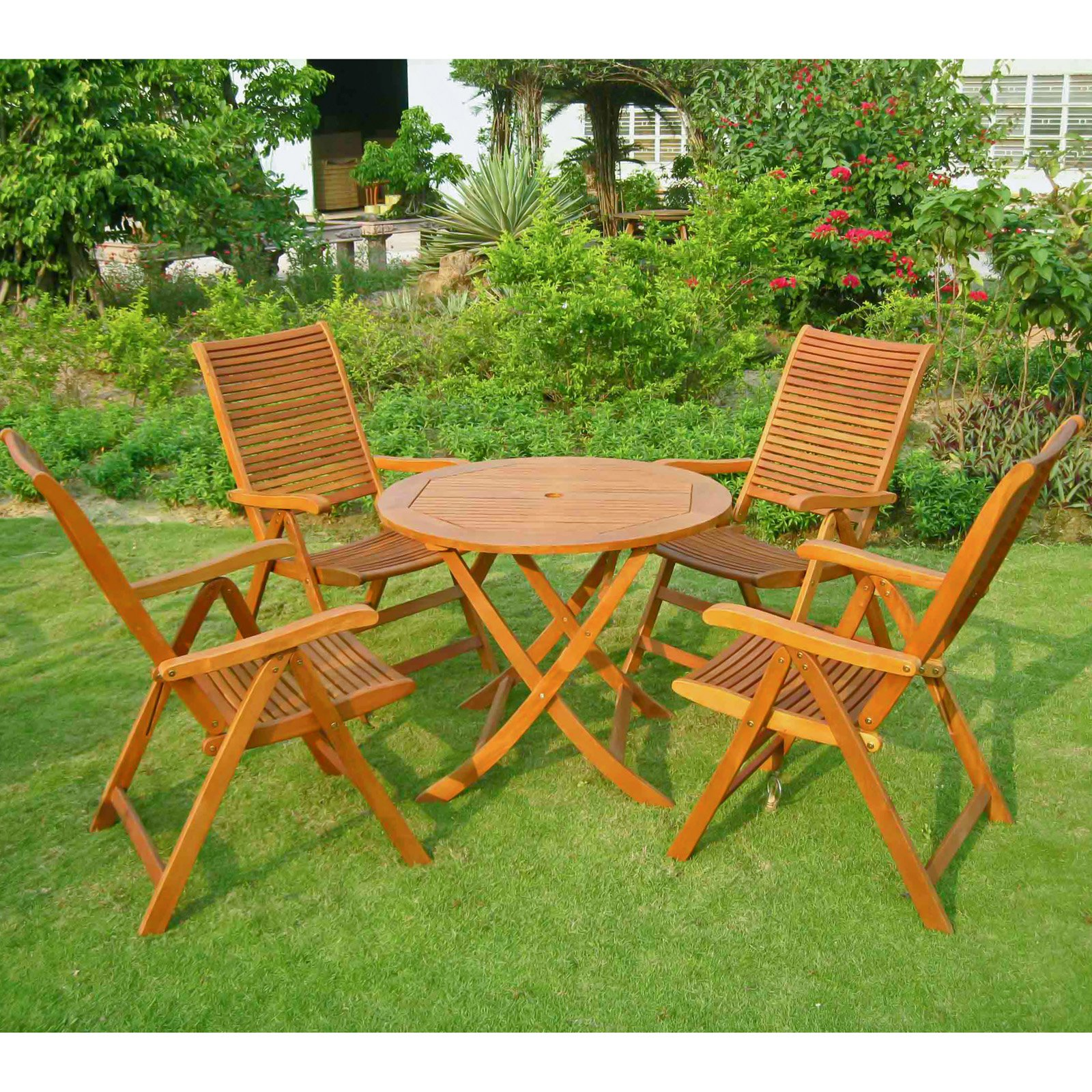 International Caravan Royal Tahiti Vienna Balau Wood 5 Piece Patio Dining Set