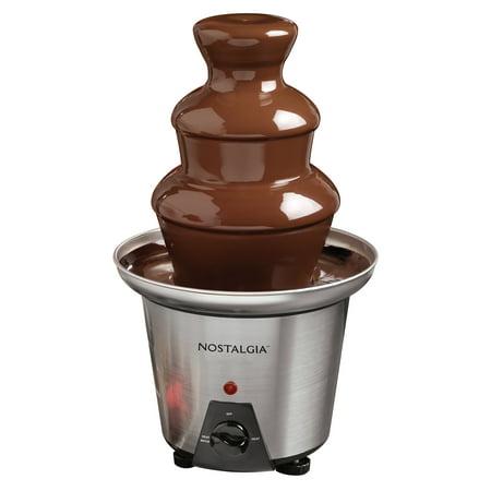 Nostalgia CFF970 3-Tier 1.5-Lb. Chocolate Fondue Fountain, Stainless Steel Chocolate Fountain Drip