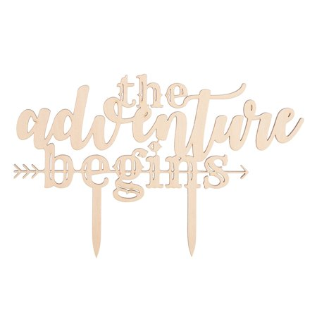 The Adventure Begins Wooden Wedding Cake Topper, Arrow Rustic Wood Decoration for $<!---->