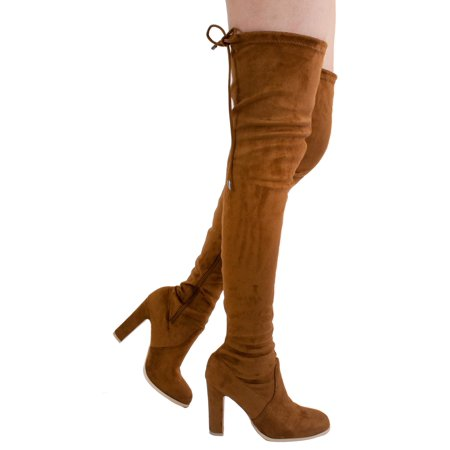 Red Thigh High Boots For Halloween (Women's Over The Knee High Block Chunky Heel Thigh Heel Faux Suede Boots (FREE)