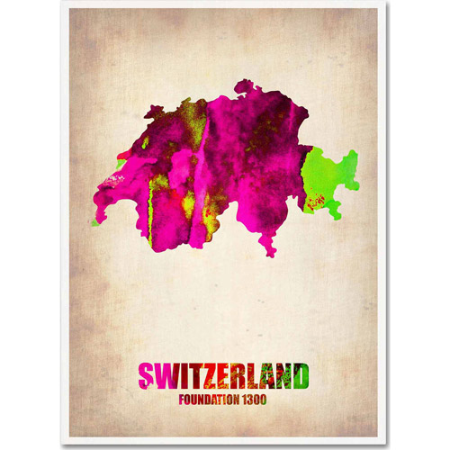 "Trademark Fine Art ""Switzerland Watercolor Map"" Canvas Art by Naxart"