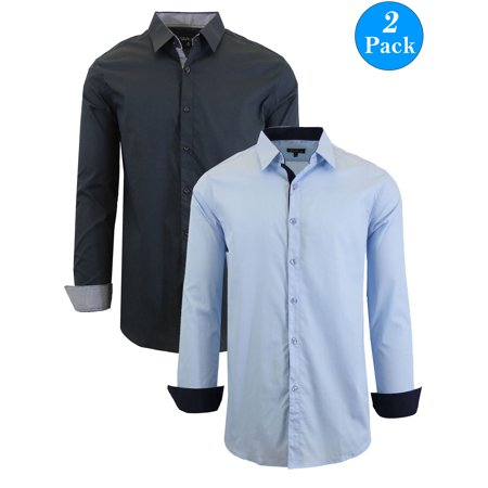 Men's Long Sleeve Stretch Cotton Dress Shirts (2-Pack) Stretch Dress Skirt