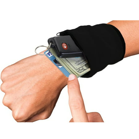 Stretchable Wrist Wallet Pouch Band Fleece With Zipper For Running Travel Gym Cycling -2 Pack