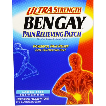 BENGAY Ultra Strength Pain Relieving Patches Large Size 4 Each (Pack of 2)