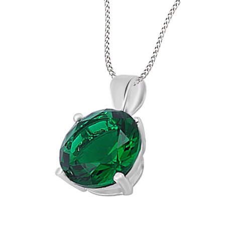 Emerald Cut Solitaire Pendant - 3 Carat Round Simulated Green Emerald CZ Solitaire Pendant Necklace 14k Gold Over Sterling Silver