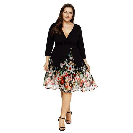 AKFashion Women's Plus Size Deep V Neck Long Sleeve Knee Length Floral Printing Chiffon (Plus Size Chiffon Wedding Dresses With Sleeves)