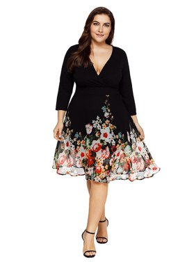 Product Image AKFashion Women s Plus Size Deep V Neck Long Sleeve Knee  Length Floral Printing Chiffon Dress 1d4e885a620a