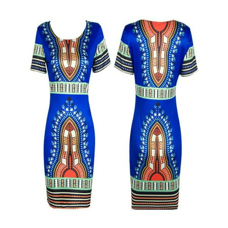 Dashiki Pattern (Women Traditional African Print Dashiki Bodycon Sexy Short Sleeve Dress)