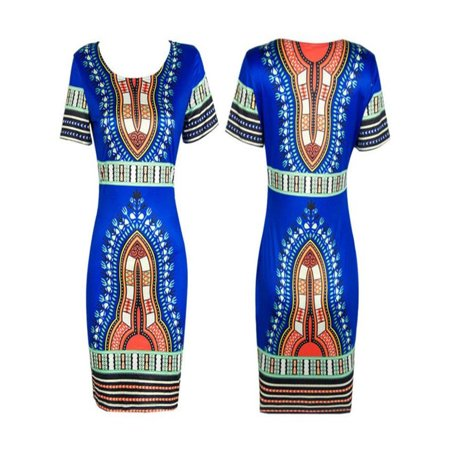 Women Traditional African Print Dashiki Bodycon Sexy Short Sleeve Dress Blue/L (Womens Dashiki)