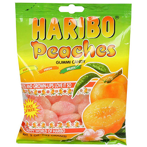Haribo Peach Fruit Gummies, 5 oz (Pack of 12)