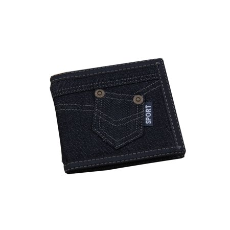 Black Blue Jean Style Wallet Small Pocket on Outside Men Woman Billfold,  A-BBB-3-12