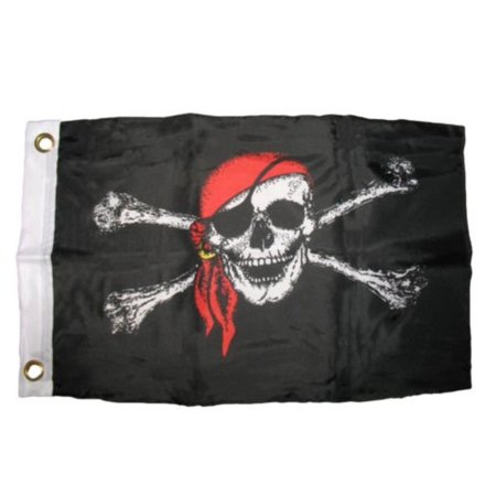 12x18 12''x18'' Jolly Roger Red Bandanna Hat Pirate Boat Bike Car Decorative Flag BEST Garden Outdor Decor polyester material FLAG PREMIUM Vivid.., By