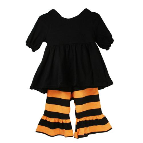 Little Girls Black Orange Stripes Ruffles Boutique Pant Outfit Set 2T