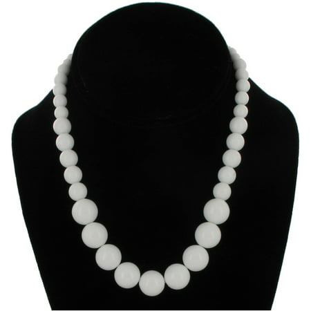 Wet Seal White Graduated Lucite Beaded Close-Fitting Choker Necklace (Graduated Beaded Chain)