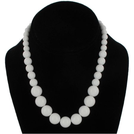 Wet Seal White Graduated Lucite Beaded Close-Fitting Choker Necklace 16
