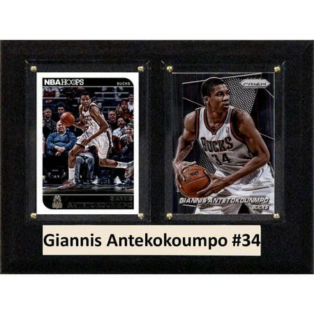 "C & I Collectables NBA 6"" x 8"" Giannis Antekokoumpo Milwaukee Bucks Two-Card Plaque"