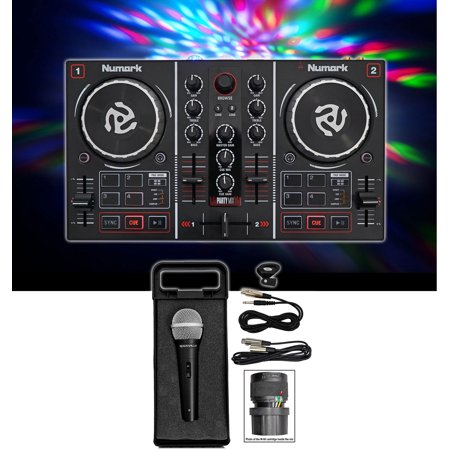 (Numark Party Mix DJ Controller w/ Built In Light Show+Microphone+Cables+Case)