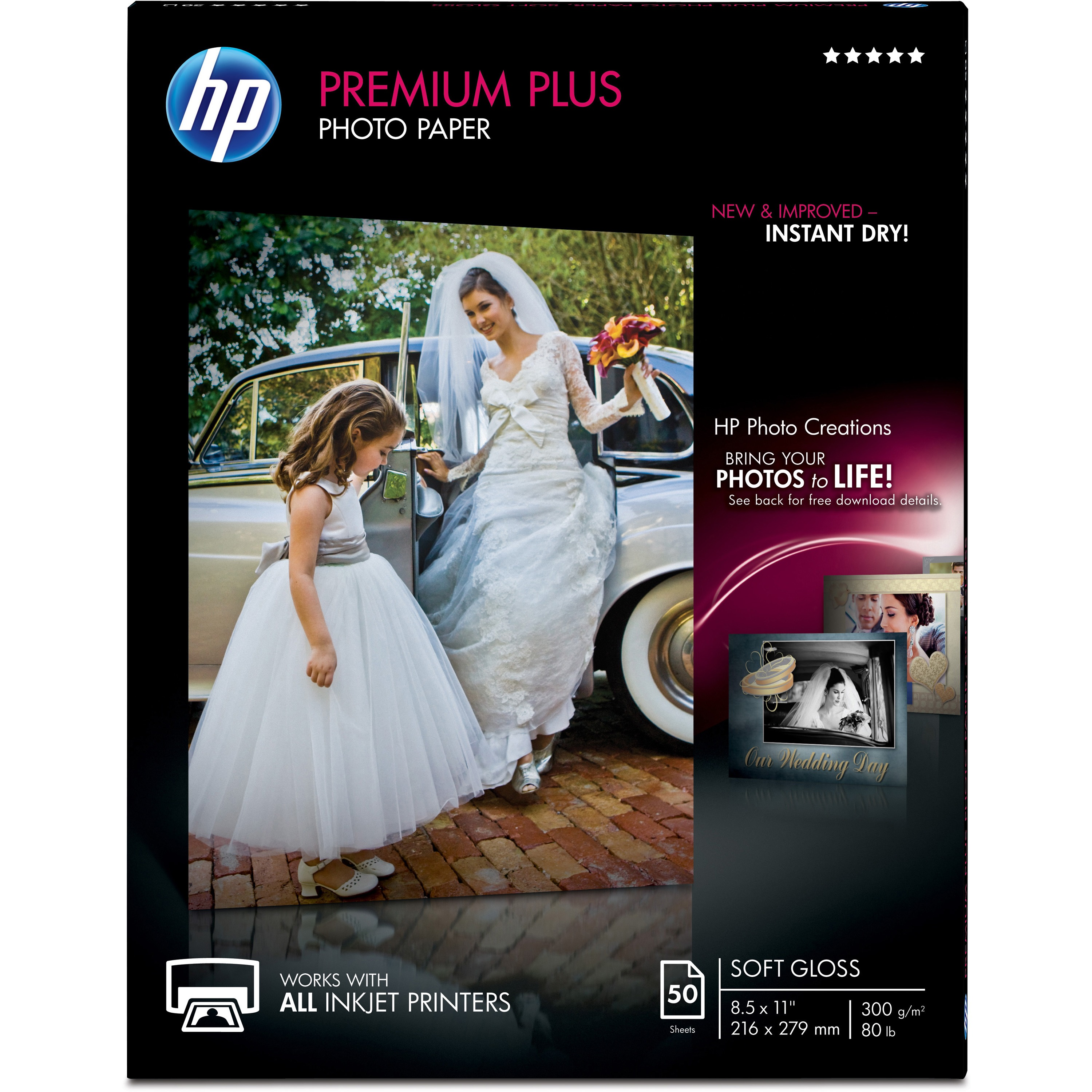 HP Premier Plus Inkjet Print Photo Paper, White, 50 / Pack (Quantity)