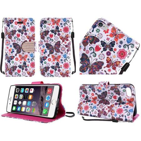 Insten Butterfly Folio Leather Fabric Cover Case Lanyard w/stand/Diamond For Apple iPhone 6s Plus / 6 Plus - Colorful - Apple Lanyard