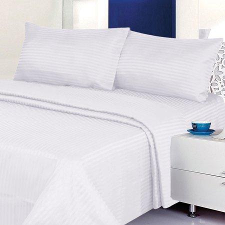 Classic Stripe Sheet Set (Deluxe 6PC Classic Cotton-Blend Sateen Dobby Stripe Bed Sheet Set )