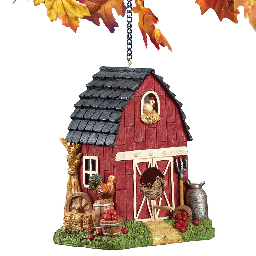 Hanging Country Red Barn Animal Birdhouse by Collections Etc