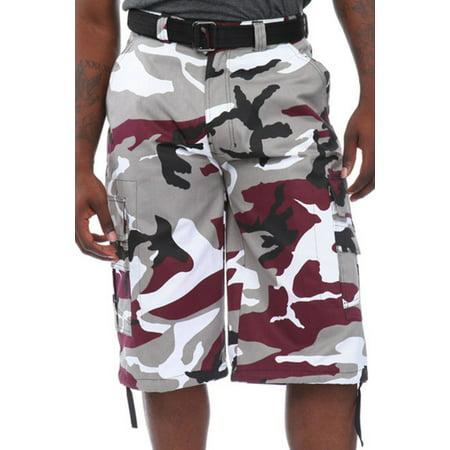- Mens Guys Big N Tall BTL Camouflage Cotton Twill Belted Camo Cargo Shorts P212A-30-Burgundy Camo